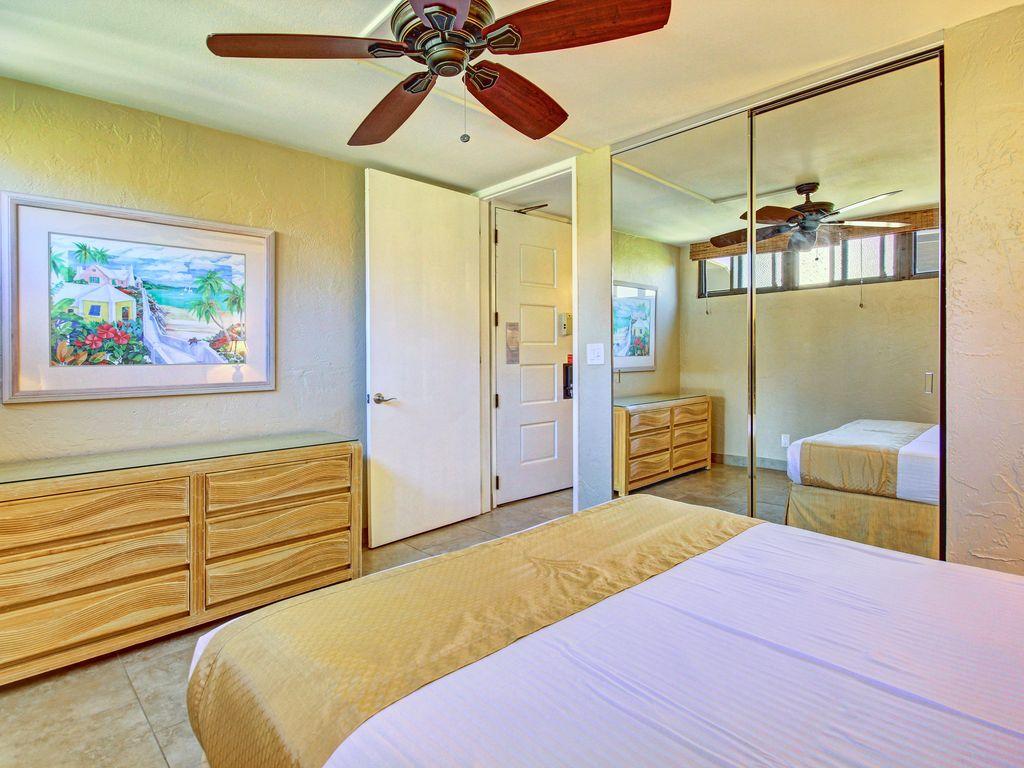 Bedroom with glass door closet