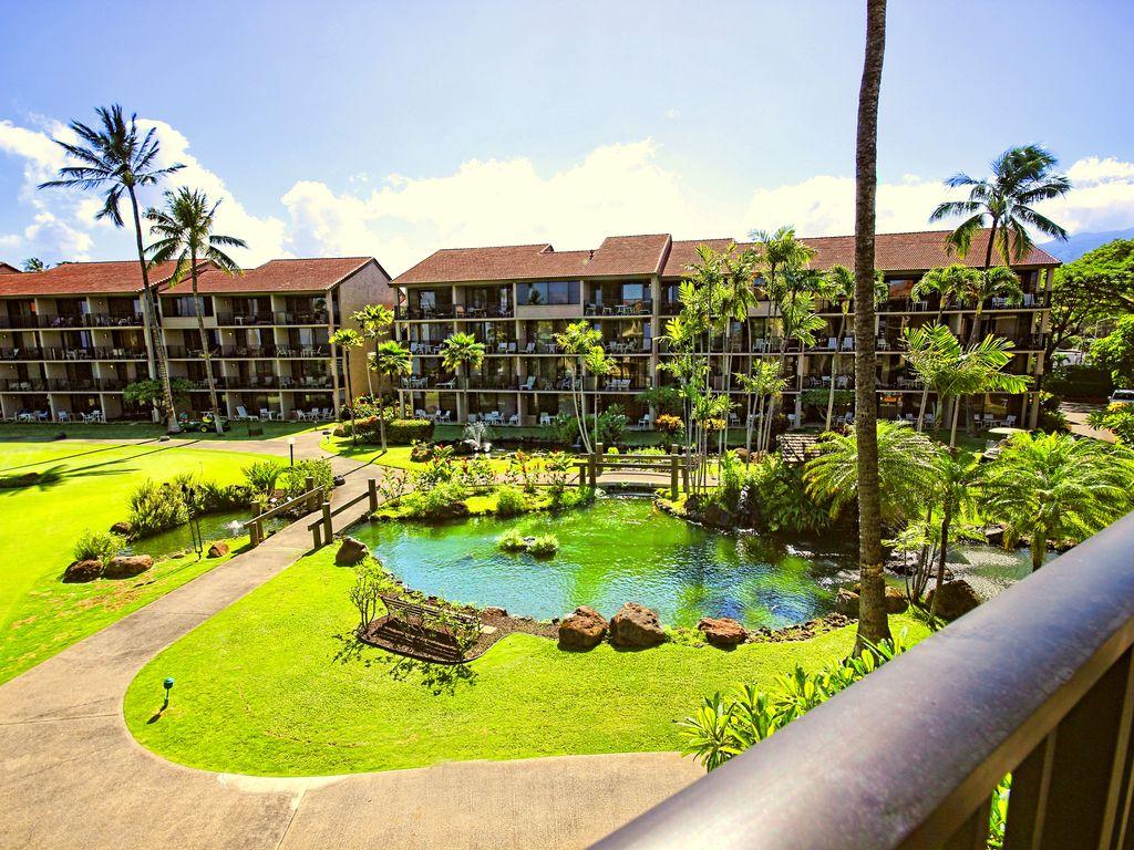View from Lanai-Koi Pond